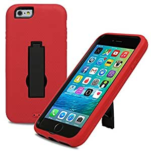 Evecase iPhone 6 Case, ARMURE Heavy Duty Dual Layer Protective Case with Kick-Stand for Apple iPhone 6 4.7'' 2014 Smartphone (AT&T, T-Mobile, Sprint, Verizon) - Red