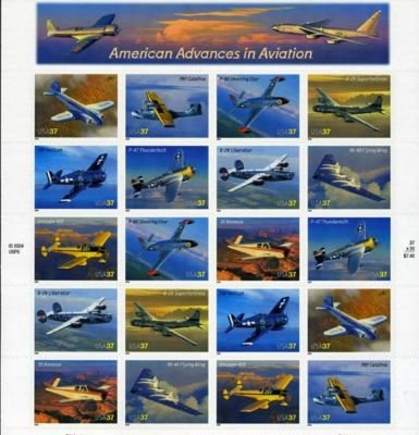 American Aviation 20 x 37 Cent U.S. Postage Stamps 2004