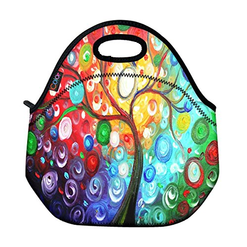 ICOLOR Colorful Tree Insulated Neoprene Lunch Bag Tote Handbag lunchbox Food Container Gourmet Tote Cooler warm Pouch For School work Office (Built Insulated Lunch Bag compare prices)