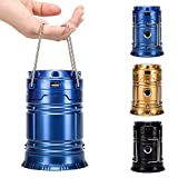 WOBAOS LED Camping Lantern, Solar Outdoor Rechargeable LED Flashlight Ultra Bright Collapsible Hand Tough Lamp - Perfect Outdoor Survival Lamp for Hiking Fishing Trekking Emergency Outages