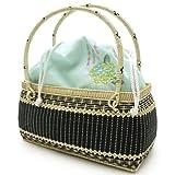 かごバッグ巾着浴衣レディース女性カゴバッグ籠水色紫陽花柄4328