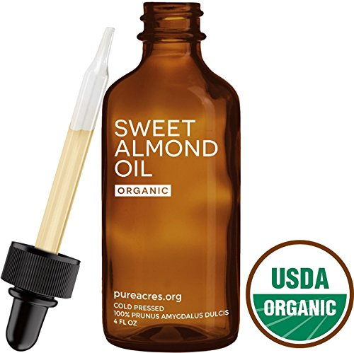 Sweet Almond Oil (Organic) - For Skin, Hair and Face - 4oz Glass Bottle + FREE Recipe eBook! - All Natural Sensual Massage Oil - Use with Essential Oils and Aromatherapy as a Carrier and Base oil (Natural Almond Oil compare prices)
