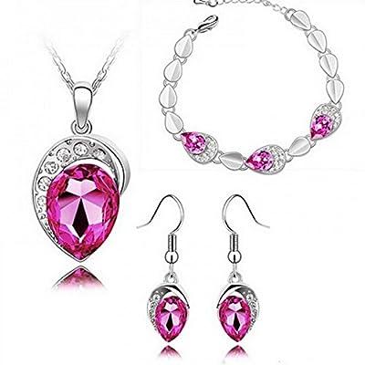HSG Cute Elegant Egg Shape Bridal Royal Austira Crystal Jewellery Sets Pendant Necklace + Bracelet + Dangle Earrings