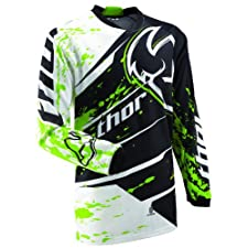 Thor Mens Phase Splatter Motocross Jersey Green Medium M