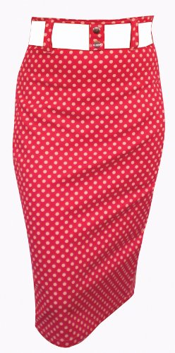 Switchblade Stiletto Womens ZIPPER WAIST BELT SKIRT in Red with Black Dots- Small