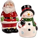 Santa and Snowman Salt and Pepper Shaker Set, 4-inch
