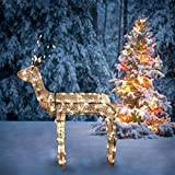 """Northlight 3-D Glitter Animated Standing Buck Reindeer Lighted Christmas Yard Art Decoration with Clear Lights, 48"""""""