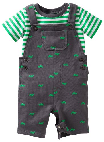 Carters Baby Boy Turtle French Terry Shortall Set 18 Mo Green/Grey front-174358