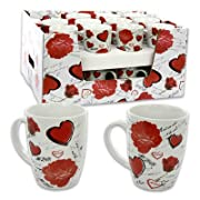 11oz Flower/Heart White Porcelain Mug (Assorted Design)