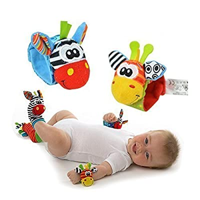 4 x Baby Infant Soft Toy Wrist Rattles Hands Foots finders Developmental