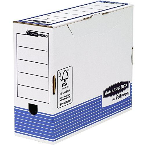 Fellowes 0026501 Boite d'Archives Banker Box System A4 Montage Automatique - Dos de 10cm Bleu (Lot de 10)
