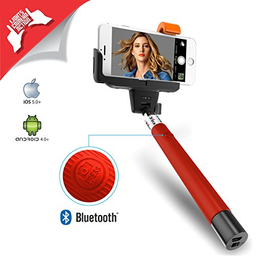 XTRA PRO Selfie Stick Self portrait Monopod with Built in Bluetooth Remote Shutter on the Handle for Smart Clicks Apple & Android Devices