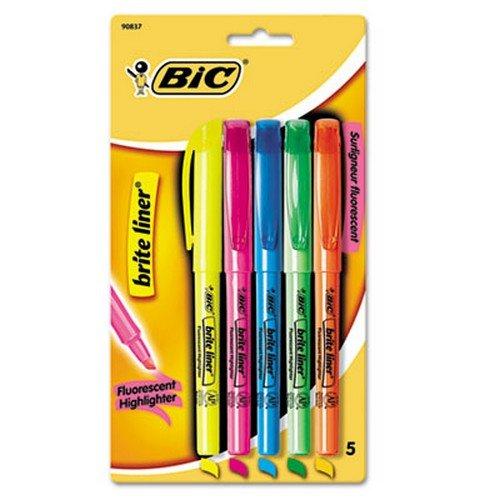 bic-blp51wasst-brite-liner-highlighter-fluorescente-de-punta-cincel-be-gn-oe-pk-yw-5-set
