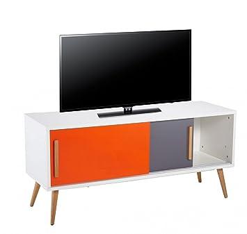 Beaux Meubles Pas Chers–Mueble TV blanco Vintage naranja y gris