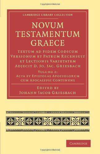 Novum Testamentum Graece: Textum ad Fidem Codicum Versionum et Patrum Recensuit et Lectionis Varietatem Adjecit D. Jo. J