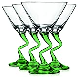 Libbey Light Green Z Shaped Stem Martini Glasses with Colored Accent - 9 oz. Set of 4- Additional Vibrant Colors Available by TableTop King