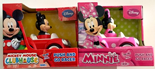 Disney Mickey Mouse and Minnie Mouse Push and Go Racer 2-Car Bundle - 1