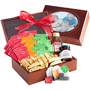 Tea Time Teas and Treats in Wooden Box with Photo Frame Lid