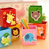 Ning store 4pcs Creative Fashion Cute Wooden Cartoon Animal Photo Frame Pencil Pen Case Holder Container,Desktop Decor,Good Gifts for Kids,Set of 4(Yellow Lion,Blue Frog,Red Giraffe,Pink Elephant,Orange Fox,Green Bear Sent Randomly)