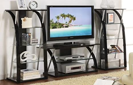 3pc Entertainment Centre with Media Tower in Black Finish