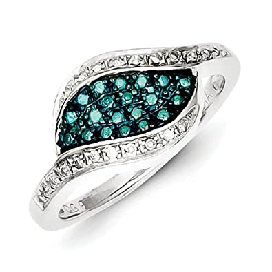 Sterling Silver Blue Rough Diamond Fancy Marquise Ring - Ring Size Options Range: L to P