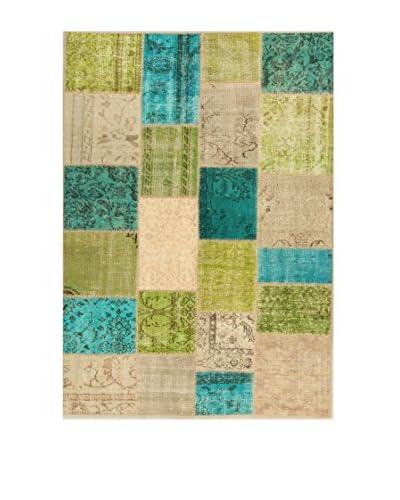 Design Community By Loomier Alfombra Anatolian Patchwork Fresh Verde/Azul/Beige 140 x 200 cm