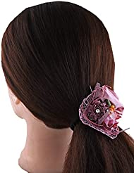 Anuradha Art Pink Colour Floral Design Styled With Stone Hair Accessories Hair Band Stylish Rubber Band For Women...