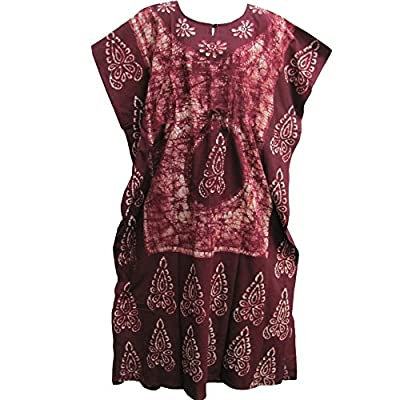 Indian Cotton Batik Paisley Floral Maroon Toned Bohemian Long Caftan/Kaftan #1