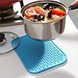 KARP Square Shape Silica Gel Anti Hot Heat Resistant Pot Holder Disc Pads Car Dashboard Anti-Slip-resistant Pad Dining Table Mat Placemat Coasters - Blue Color