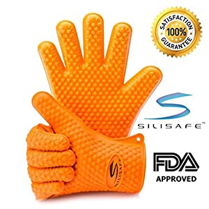 Silicone BBQ Gloves, Best Heat Resistant Oven Gloves, Love Them Or Your Money Back! Set Of 2 Grilling Gloves With Fingers. Best Accessories For Kitchen Or Barbecue. -By SiliSafe