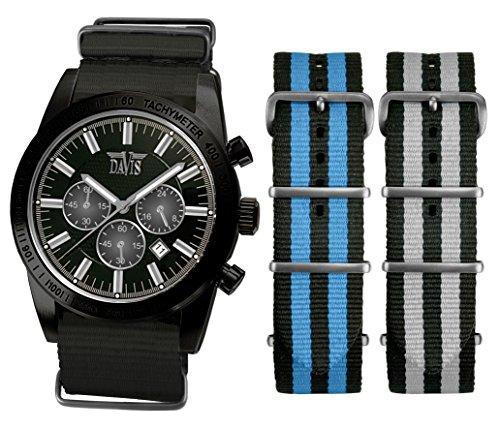 Davis 0483NN-NNB NNG Men Watch Sport-Retro Black 42 mm 50 m Waterproof Chronograph Bracelet Bracelets Free Nato Nylon Black