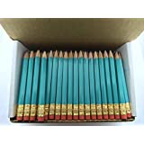 Half Pencils with Eraser - Golf, Classroom, Pew, Short, Mini - Hexagon, Sharpened, Non Toxic, #2 Pencil, Color - Light Turquoise, Box of 72 Pocket Pencils TM