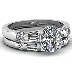 Engagement Wedding Rings Set 1.35 Ct Oval Shaped Ideal Cut Diamond VVS1-G 14K GIA Certificate # 2166348828