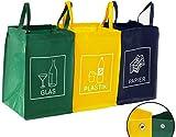 3er Set Mülltrennsystem Abfalltrenner für Papier, Plastik...