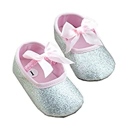 LINKEY Baby Gril\'s Soft Sole Anti Slip Mary Jane With Ribbon Bowknot Bling Bling Prewalker Sparkly Flat Shoes Silver Size S