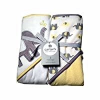 Carters Baby Hooded Towels-White/Yellow Elephant 2Pk by Triboro Quilt Mfg. Corporation