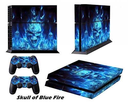 DOTBUY PS4 Pelli Playstation 4 Vinile Adesivi Skin Sticker Giochi PS4 Sistema + Due Decalcomanie del Dualshock Controller (Blue Fire Skull)