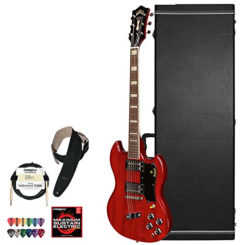 Guild Cherry Red S-100 Polara Solid Body Electric Guitar With Guild Hard Case, Chromacast Electric Strings, Cable, Strap And Picks