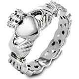 Stainless Steel Claddagh Ring with Celtic Knot Eternity Design (4mm) - Sizes 5 - 12
