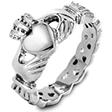 Elya Designs Stainless Steel Claddagh Ring with Celtic Knot Eternity Design (5mm) - Sizes 5 -12
