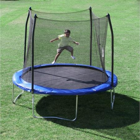 Skywalker-10-Round-Trampoline-and-Safety-Enclosure-Combo-with-Windstakes