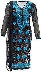 AKS Lucknow Women's Regular Fit Kurti (TK-85_42, BLACK, 42)