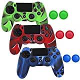 PlayStation-4-Controller-Case SlickBlue Camo Series -3 Silicone Protection Case Skin for PS4 DualShock Controllers with Grip -3 Color (Blue / Red / Green)