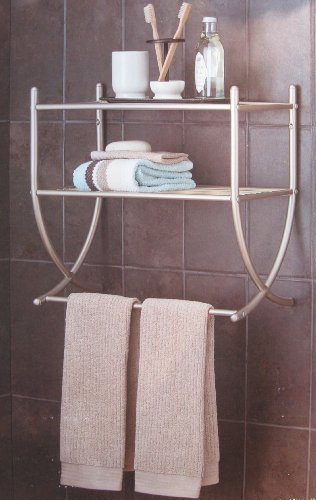 Home Building Tools Best Deal On Satin Nickel 2 Tier Wall Shelf With Towel Bar