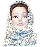 Hand Knitted Crochet Khaki Chenille Heavy Balaclava Neck Warmer Scarf Tube