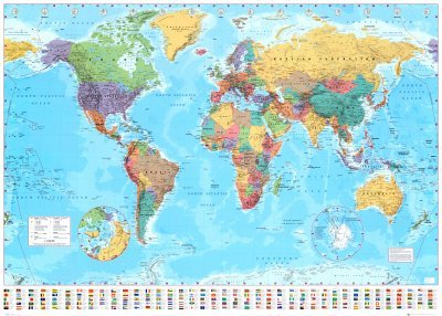 Huge-World-Map-Time-Zones-Political-Poster-40x60in-Kitchen