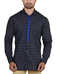G CUBE Men's Cotton Classic Full Sleeves Regular Fit Casual Shirt Black Colour With Horizontal Lines Pattern