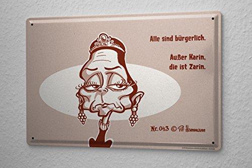 Targa in metallo Pit Hammann No. 43 sono tutti civili Salvo Karin Zarin è il fumetto cartone animato 20x30 cm satira