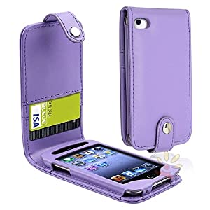Everydaysource Purple Leather Case with Card Holder compatible with Apple® iPod touch® 4th Generation