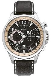 Bulova #96B141 Men's Stainless Steel Leather Strap Adventurer Chronograph Watch